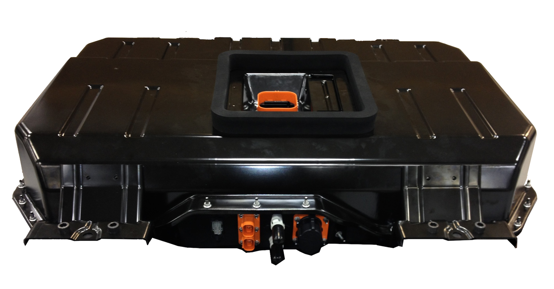 The 2018 Chrysler Pacifica Hybrid features a 16-kWh lithium-ion battery pack (shown with cover on) that is stored under the second row floor.